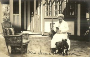 Woman & Pitbull Terrier Dog c1910 Real Photo Postcard