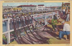 California San Francisco Mending Nets On Fisherman's Wharf
