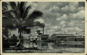 Barranquilla Colombia Puerto Fluvial Old Real Photo Postcard