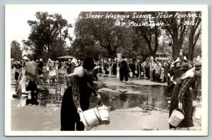 Pella Iowa~Tulip Time~Street Scrubbing~Shoulder Buckets & Brooms~1950s