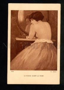 033333 Semi-NUDE Lady near Mirror By ALAUX Vintage ART NOUVEAU