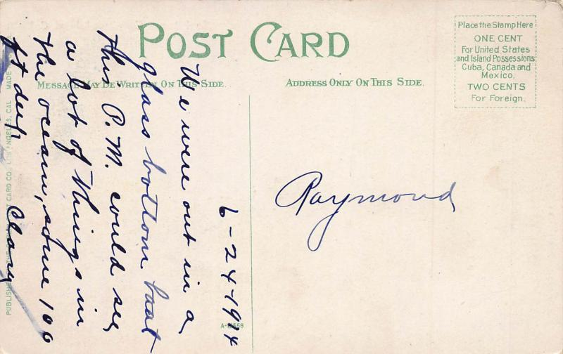 Seal Rocks, Catalina Island, California, Early Postcard, Used in 1914