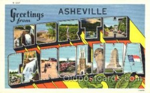 Greetings From Asheville, North Carolina, USA Large Letter Town Towns Postcar...