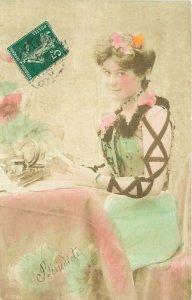 C-1910 Gaudy hand Tint Woman Postcard 20-669