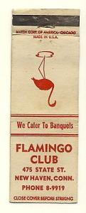Vintage New Haven, Connecticut/CT/Conn Matchcover, Flamingo Club, 1950's?
