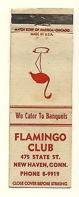 Vintage New Haven, Connecticut/CT/Conn Matchcover, Flamingo Club, 1950's?