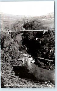 RPPC SAPINERO, CO ~ HIGH BRIDGE & GUNNISON RIVER c1950s Sanborn w-907 Postcard