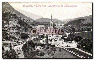 Old Postcard Lourdes L & # 39Eglise and Rosary Basilica