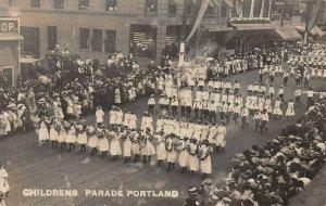 LPS84 Portland Oregon Rose Festival Children's Parade Town View Postcard RPPC