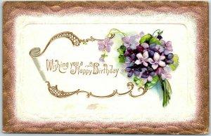 Vintage HAPPY BIRTHDAY Embossed Postcard Bouquet of Purple Flowers - c1910s