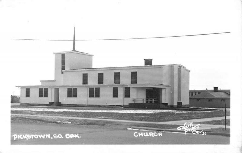 Pickstown South Dakota Church Real Photo Antique Postcard K55314