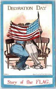 c1910s DECORATION DAY Comic Postcard Couple Kissing Behind U.S. Flag UNUSED