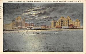 ATLANTIC CITY NY~DENNIS-MARLBOROUGH-BRIGHTON-TRAYMORE HOTELS BY NIGH POSTCARD