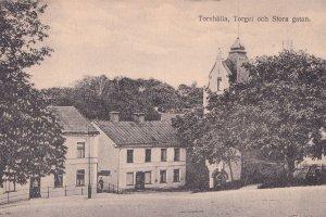 Torshalla Torget Och Stora Gatan Sweden Old Postcard