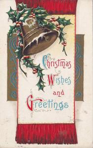 Christmas Wishes and Greetings, Large ringing bell, holly, PU-1912