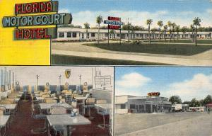 TALLAHASSEE FL-FLORIDA MOTOR COURT HOTEL-COLORFUL NEON SIGN-1953 PSTMK POSTCARD