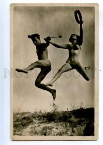 198332 AVANT-GARDE Nude Jumper OLYMPIAD ATHLETE Vintage PHOTO