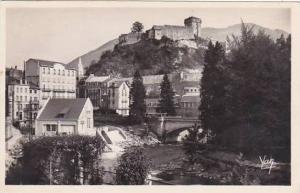 France Lourdes Le Chateau Fort et le Gave 1948 Photo