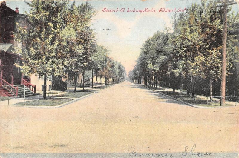 ELKHART IN SECOND STREET LOOKING NORTH POSTCARD c1908