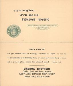 Long Branch New Jersey~Disbrow Brothers Farm Supplies Advertisement Card~c1910