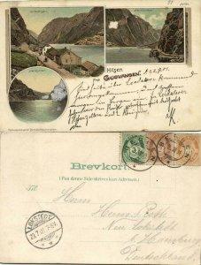 norway norge, GUDVANGEN, Nærøyfjorden, Multiview (1901) Litho Postcard