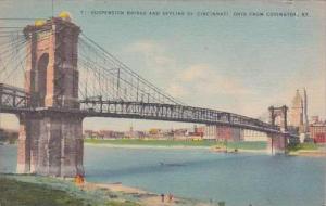 Kentucky Covington Suspension Bridge And Skyline Of Cincinnati Ohio From Covi...