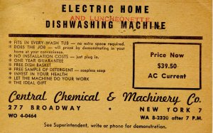 Advertising - Electric Home Dishwashing Machine, circa 1950