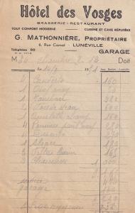 Hotel Des Vosges Luneville Garage Restaurant 1950s Receipt