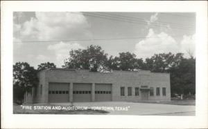 Yorktown TX Fire Station Real Photo Postcard EXC COND