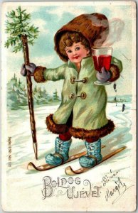 Vintage 1907 Hungarian CHRISTMAS Greetings Postcard / Skiing Boy w/ Gluhwein