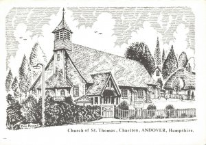 Art Postcard Church of St Thomas Charlton Andover Hampshire Don Vincent AS1