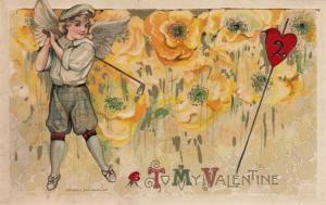 JOHN WINCH; Samuel Schmucker: 1910, Valentine, Cupid Playing Golf