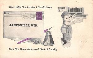 Dot Ledder I Sent From Janesville Wisconsin~Not Been Answered~Mail~1913 PC