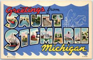 SAULT STE MARIE Michigan Large Letter Postcard Curteich Linen c1940s Unused