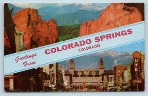 Postcard CO Banner Dual View Greetings From Colorado Springs Vintage O10