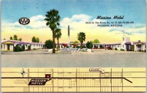 Phoenix, Arizona Postcard MISSION MOTEL Van Buren Roadside / MAP / Linen c1950s