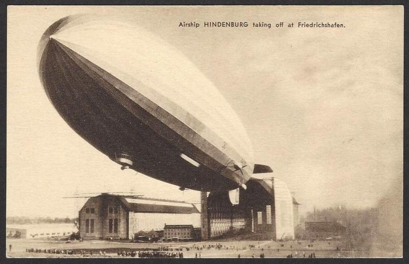 Airship Hidenburg taking off at Friedrichshafen vintage postcard Zeppelin