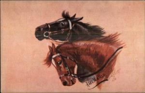 Horse Heads by Hilda Walker - TUCK Oilette #9692 c1910 Postcard