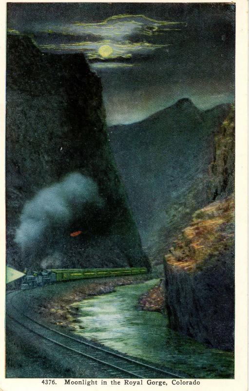 CO - Royal Gorge. Train in Moonlight
