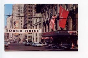 Detroit MI  Street View Old Cars Vintage Store Fronts Postcard