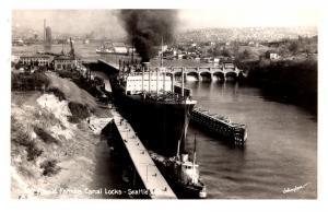 Washington  Seattle , Cargo ship, Tug Boat, Canal Locks ,  RPC