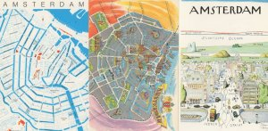 Amsterdam Map 3x Postcard s