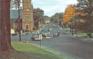 Northampton MA Main Street Old Cars Postcard