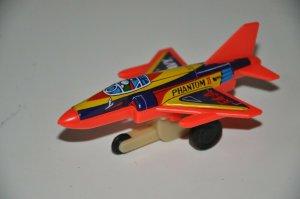 Vintage F4-A Navy Phantom II 2 Orange Toy Plane Metal/Plastic MADE IN JAPAN