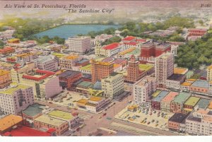 P1945 1961 colorful postcard air view st petersburg sunshine city florida unused