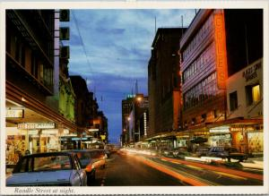 Rundle Street at Night Adelaide South Australia Coles Cox Foys Postcard D59