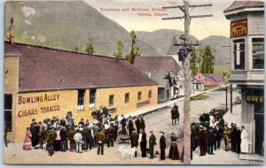 Valdez, Alaska Postcard Broadway & McKinley Sts Bowling Alley View 1910 Cancel