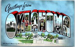 OKLAHOMA Large Letter Postcard w/ Claremore Will Rogers Museum KROPP Linen 1942