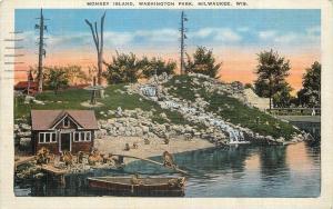Milwaukee WI~Washington Park~Monkey Island~Bath House~Diving Board~1936 Postcard