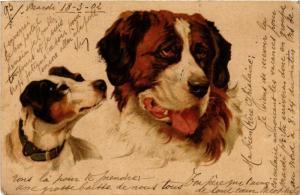 CPA St.Bernard & Jack Russel DOGS (746000)
